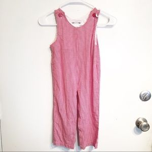 Vintage Kids Red Gingham Plaid Overall Jumpsuit